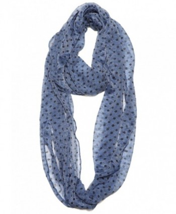 Women Super Lightweight Soft Lace Polka Dot Infinity Scarf - Navy - C812F08M907