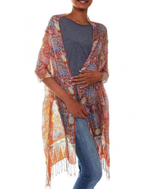 NOVICA Multicolor 100% Silk Batik Shawl- 'Bird of Paradise' - C811700OAQT