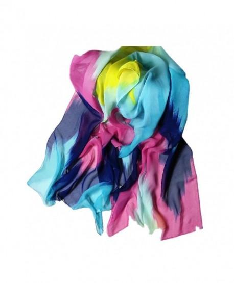 """Chiffon Scarf- Sothread Women Printing Ink Painting Style Soft Scarves Shawl Scarf Wrap (Blue) - """" Blue """" - CI187IG0TCH"""