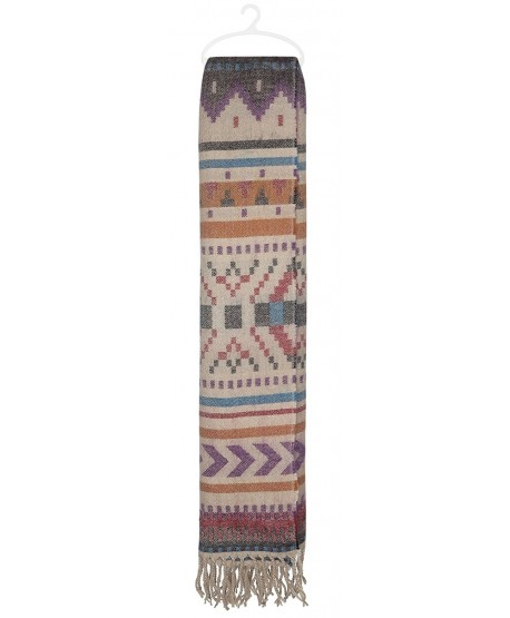 Capelli New York navajo stripes brushed woven blanket scarf With fringe - Warm Combo - CM124SD4I09