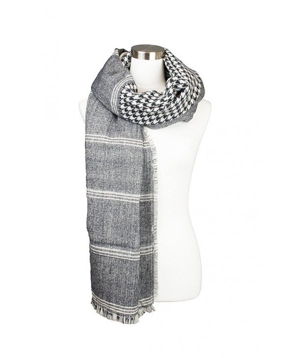 Womens Hounds-tooth Checkered Block Design Oblong Fall Winter Scarf - Black - CJ1852GWNW6
