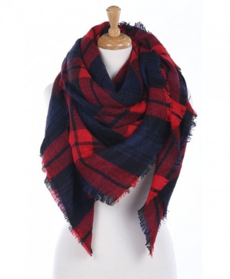 348968e44f556 CCFW Women's Large Tartan Plaid Soft Square Blanket Scarf Wrap Shawl - Red  Navy 55 - CV1868YOUM0