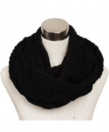 Ls Lady Women's Warm Infinity Circle Scarf Ribbed Knit Scarf Cowl Wrap - Black 1 - CZ12813T2MB