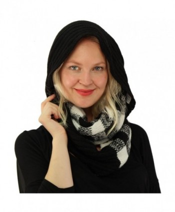 CC Buffalo Plaid Soft Chunky Pullover Knit Long Infinity Hood Cowl Scarf - Black/Ivory - CN186AIACIL