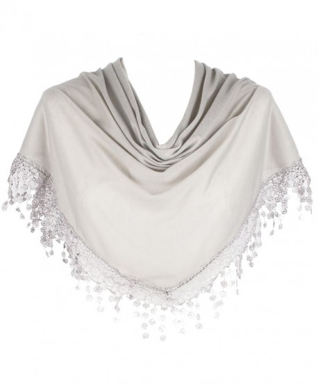 HatToSocks Triangle Scarf with Bobbin Lace Fringes for Women in Plain Colors - Light Grey - CQ12I8J9683