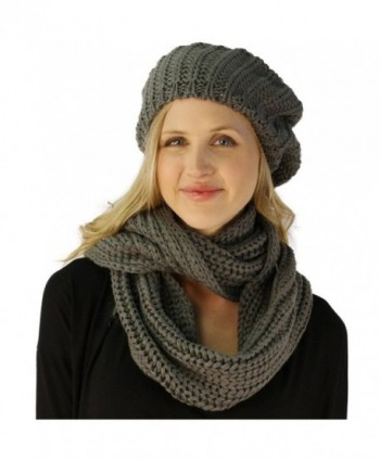 Ladies 2pc Winter Knit Beret Tam Beaniel Hat Long Infinity Scarf Solid Set - Gray - CY11P5F9M3D