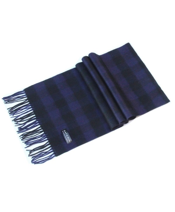 Saferin Women Men Cashmere and Wool Plaid Warm Soft Scarf with Gift Box - Hyx-purple Black Plaid - CN186NA8X3W