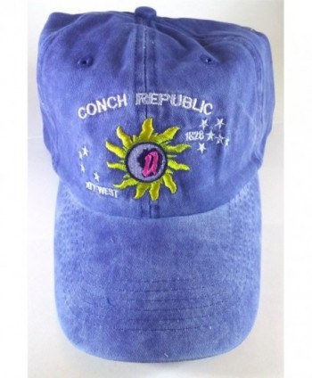 Key West Baseball Cap- Colorful Conch Republic Embroidery - Blue - C111UTUV0PR