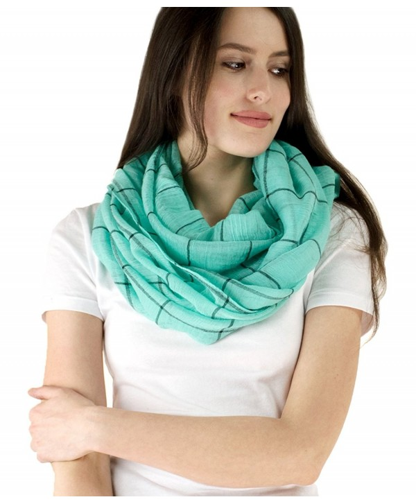 Le Nom Simple Plaid Infinity Scarf - Mint - CW12EGHGFTJ