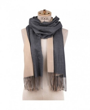 SOJOS Both-Side Colored Reversible Cashmere Wool Women Scarf Shawls Wraps SC302 - C1 Grey&beige - CX186N7RLZ0