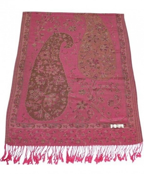 CJ Apparel Jammu Design 2 Ply Reversible Shawl Pashmina Scarf Wrap Seconds NEW - Pink - CY128HUS6ON