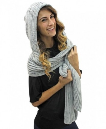 Light Gray Winter Hooded Scarf in Cold Weather Scarves & Wraps
