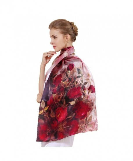 Women's 100% Charmeuse Mulberry Silk Long Scarf For Gift Hair Ladies Shawls Floral And Butterfly Scarf - Orange - C3187G304HK