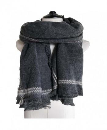 Cozycloth Women's plaid blanket Chunky oversize big warm scarf - cashmere feel- Plaid shawl - Mls01 Charcoal - CV188WM87Q2