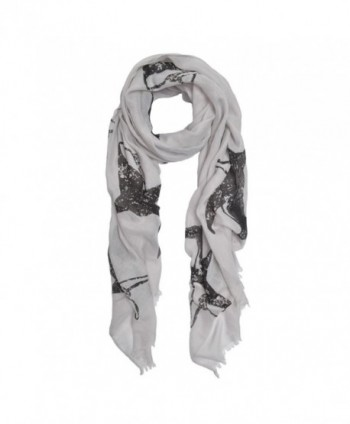 Unique Sharks Animal Print Frayed End Scarf Wrap - Diff Colors Avail - Grey - C312NVTNPL6