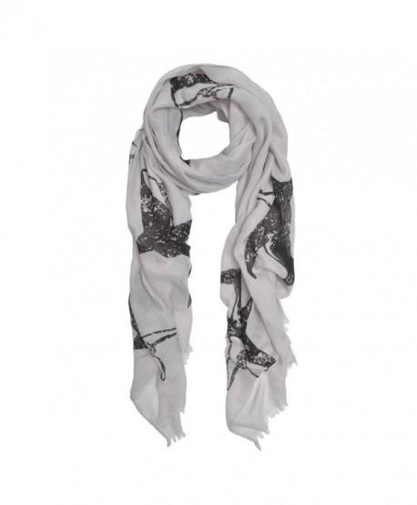 Unique Sharks Animal Print Frayed End Scarf Wrap - Diff Colors Avail - Grey - C312NVTNPL6