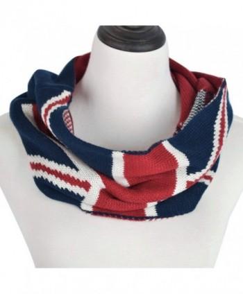 Unisex Soft Winter Knit UK British Flag Union Jack Infinity Loop Circle Scarf - CT12MOKZWJJ