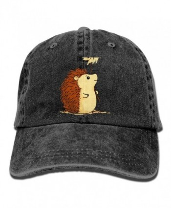 HAA-36 Hedgehog Cartoon Adjustable Adults Custom Jean Cap For Mens Womens Partner Cap - Black - C3188R5GSXG
