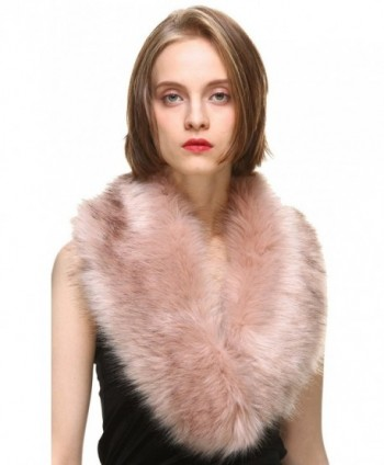 Vogueearth Women'Faux Fur Neck Scarf For Winter Coat Collar - Pink - CK1883XN6O0
