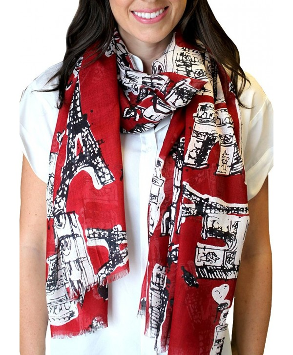 Anika Dali Women's Bonjour Paris Print Scarf- Ideal for Travel- Chic- Lightweight (2 Colors) - Rio Red - CT11BNMPBUZ