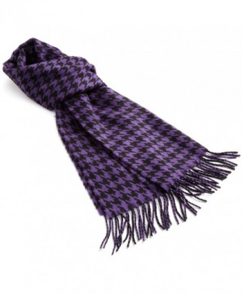 D & Y Womens Classic Houndstooth Scarf - Purple/Black - CY11540IULJ