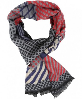 Sakkas Samna Long Stripe Patterned Warm UniSex Cashmere Feel Scarf - Black / Red - CT12LBF8WEZ