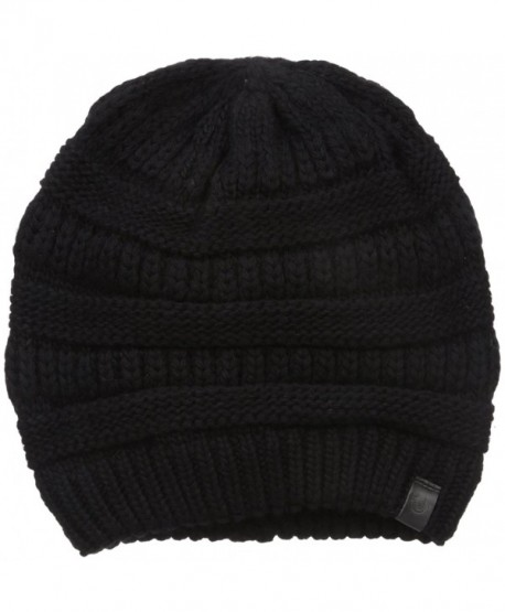 True Religion Men's Chunky Ribbed Knit Beanie - Black - C212K9VP579