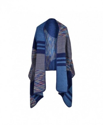 Loose Wool Poncho Shawl Cloaks Cape Wrap Kimono Cardigans Office Coat - H-blue(fast Ship) - C11879G8077