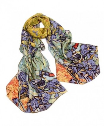 AngelShop Women's 100% Luxury Long Silk Scarf Van Gogh's Art Collection - Irises - CW12O2WVD8I