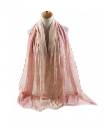 FEOYA Women Dot Floral Print Pashmina Scarves Silk Blend Long Beach Wrap Shawl - Pink - CL12JWOHOT1