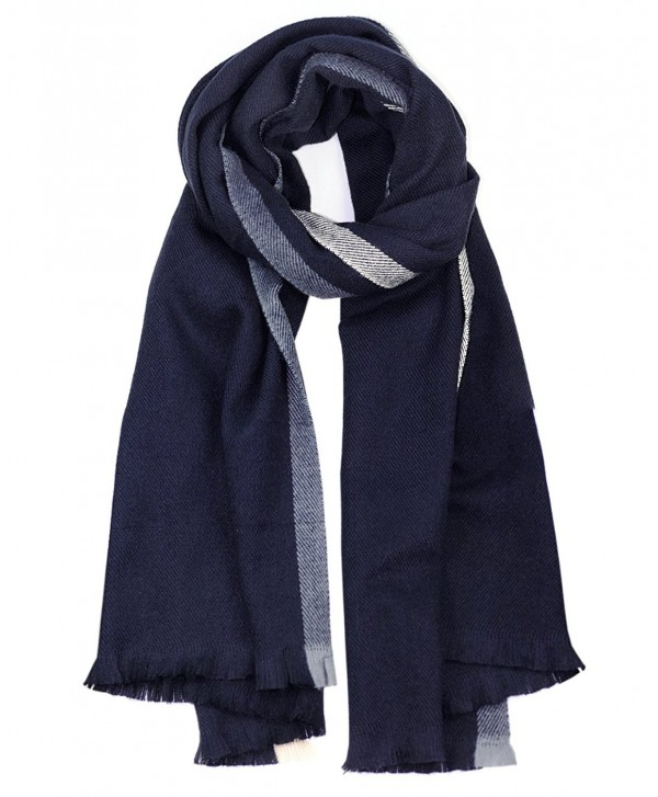 NYFASHION101 Women's Two Striped Oblong Large Blanket Shawl Scarf - Navy - CU12NB65FRY