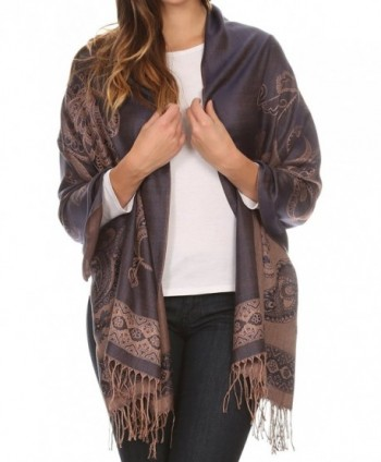 Sakkas Seily Long Extra Wide Fringe Paisley Patterned Pashmina Shawl / Scarf - Navy / Golden - CJ12LN81KKX