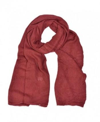 HUE21 Lightweight Oversize Knit Oblong Scarf - Burgundy - C211OTS4CM3