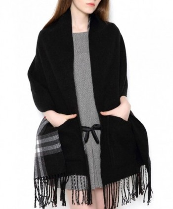 UTOVME Unisex Reversible Long Scarf Check Shawl Cashmere Feel Stole with Pocket - Black - C312J0KY94F