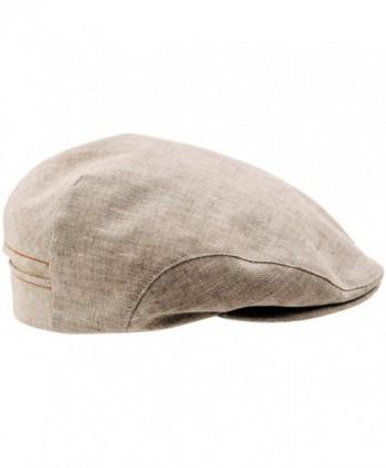 Sterkowski 100% Linen Summer Ivy League Flat Cap - Beige - C611XSKL9WT