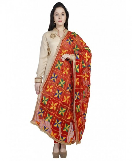 Dupatta Bazaar Women's Red & Multi colour Phulkari Embroidery Chiffon Dupatta - CP12IHEI3CJ