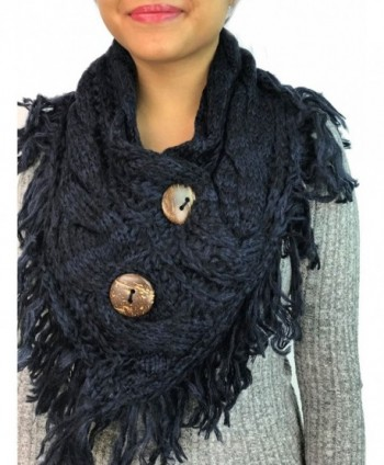 Women's Heather Fringe Shoulder Accent Coconut Buttons Cable Knit Shoulder Scarf Wrap YS-3680 - Navy - C0187WN7L95