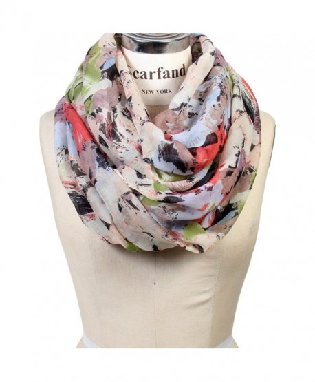 Scarfand's Mixed Color Oil Paint Infinity Fashion Scarf - Brushstroke Rose Ivory - CU12NVD23UN