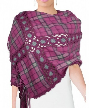 Dahlia Women's Large Wool Blend Scarf - Crochet Flower Cross Striped - Magenta Pink - CH117NY4CWF
