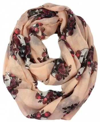 Lina & Lily Gothic Style Rose Skull Print Women's Infinity Scarf Lightweight - Nude - CT11U5K6Q4L