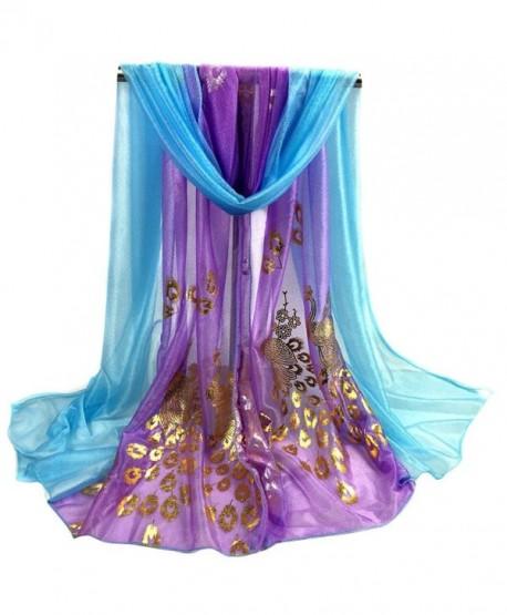 Iusun Women Multi-color Peacock Printed Long Shawl- Super Soft Wrap Scarf Scarves - Purple - CQ12O02IGV0