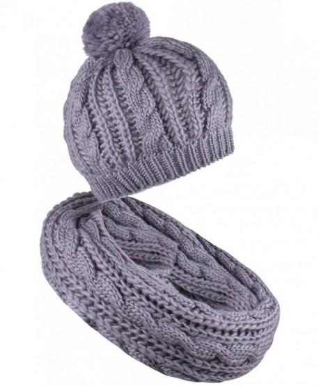 Scarf and Hat Set Pompom Beanies Womens Knitted Infinity Scarves Skull Caps Mens - Gray - CR187C9XHOS