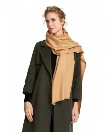 RIONA Women's Soild Basolan Silk Wool Scarf - Soft Lightweight Neckwear for Spring & Fall - 173701_camel - CI186EG52SA