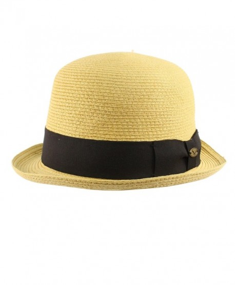 18ee86331ae Men s Summer 1800s Derby Bowler Round Top Bob Dome Fedora Hat - Natural -  CC12ER12HG9