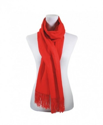Women Pure color Scarf Authentic Cashmere Super Soft and Warm Wrap Shawl Scarf - Red - C71872L9O7E