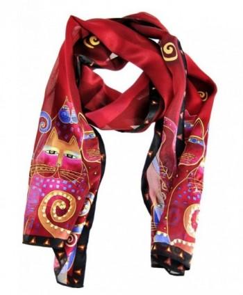 Laurel Burch Artistic Sequin Silk Scarf - Red - C91158FNBTL