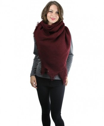 ToBeInStyle Women's Open Weave Square Scarf - Burgundy - CI12NUJP2B0