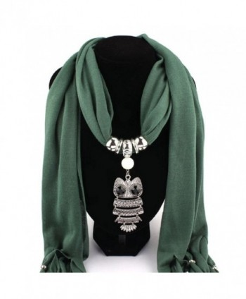 Women Tassels Wrap- Misaky Necklace Scarves Owl Pendant Jewelry Scarf Shawl - Green - CJ12MB8KG0J