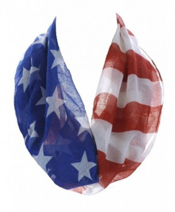 Women's Thin and Soft Star Spangled Banner Infinity Scarf Red White & Blue - C611YUAR85H