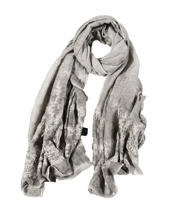 Ayli Women's Flora Lace Scarf Long Shawl Lightweight Fashion Wrap Various Colors - Gray - CV1875UQA4S